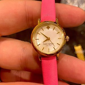 Beautiful mother of pearl Kate Spade watch NEW battery WORKS girly dainty pink